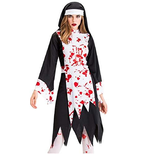 Zombie Ausgefallenes Kostüm - Bluelucon Damen Halloween Kostüm Cosplay Karneval Abendkleid Nonne Zombie Full Set Ghost Damenkostüm Teufel Nonnen Horror Vampir Hexenkleid mit Hat