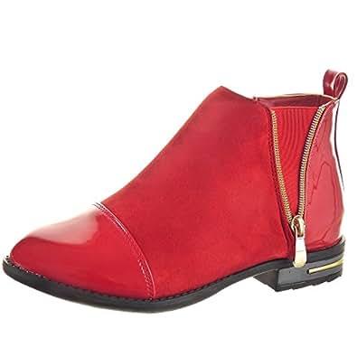 sopily chaussure mode bottine chelsea boots montante femmes brillant fermeture zip talon bloc. Black Bedroom Furniture Sets. Home Design Ideas
