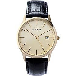 Sekonda Men's Quartz Watch with Beige Dial Analogue Display and Black Leather Strap 3697.27