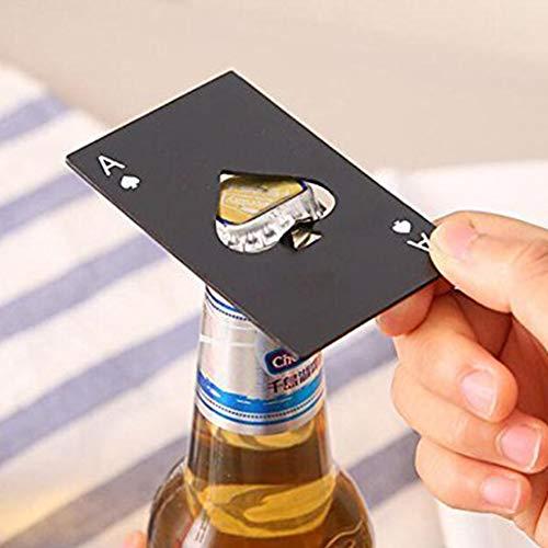 Yiwa Flaschenöffner aus Edelstahl in Poker-Form für Bier-, Wein- und Sodaöffner (Flaschenöffner Oxo)