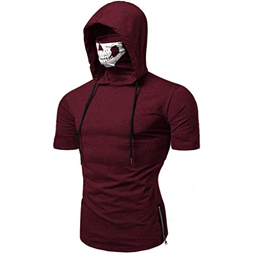 SANFASHION Herren Hooded Mens Mask Skull Druck Splice Tops,Pure Color Reißverschluss Mode Revers Kurzarm Hemd Kurzarm Shirt -
