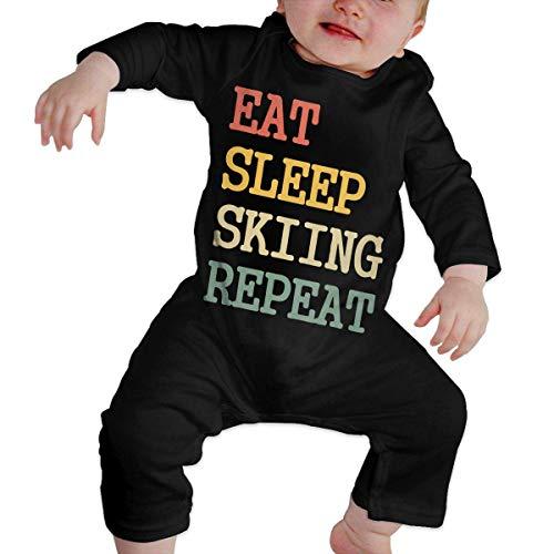 PEKSIN Eat Sleep Skiing Repeat Baby Boy Girl Long Sleeve Romper Jumpsuit Coverall 18M -