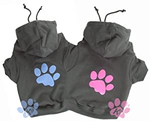 'Pink Paw' Charcoal Dog Hoodie from K9 by Igloo Designs (small)