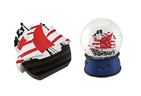 Children`s Pirate Ship Snow Globe and Trinket Box 2 Pc. Set