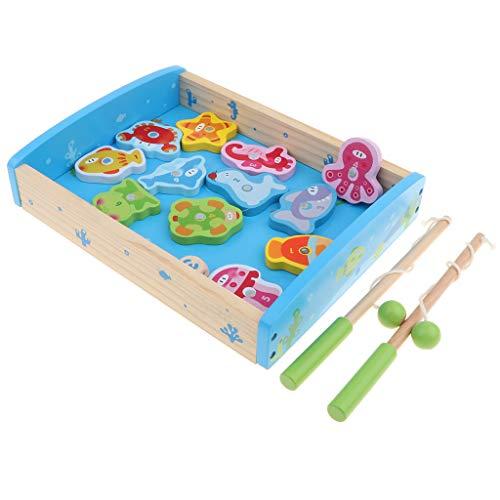 B Blesiya 15er-Set Magnetisches Fischen Angeln Kinder pädagogisches Spielzeug, inkl. 2 Angelruten, 1 Angelkiste, 1 Würfel und 12 Fische