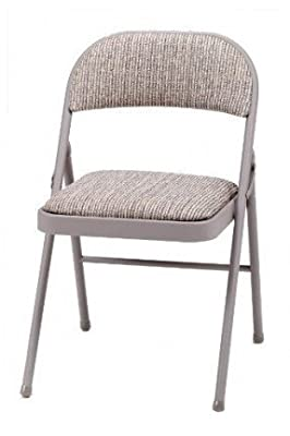 Deluxe Padded Steel Fabric Folding Chair - Brown - inexpensive UK light store.