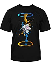 Adults PORTAL 2 T-shirt   PORTAL Tshirt   Official   GEL SPLATTER   Adult   S   BLACK