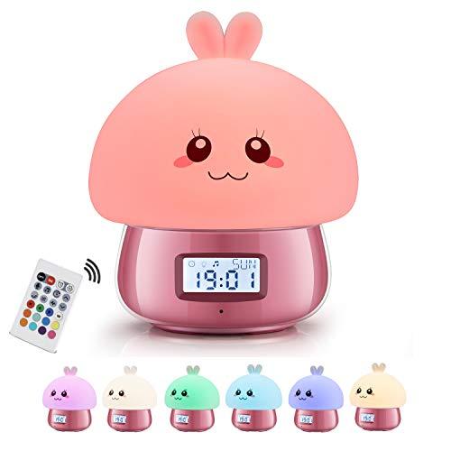 GoLine Despertador Infantil Niña Rosa, Despertadores Digitales, Reloj Despertador Digital con Luz Natural, 7 Colores, 11 Sonidos, Función de Snooze, Muestra Tiempo Fecha Temperatura, Control Remoto.