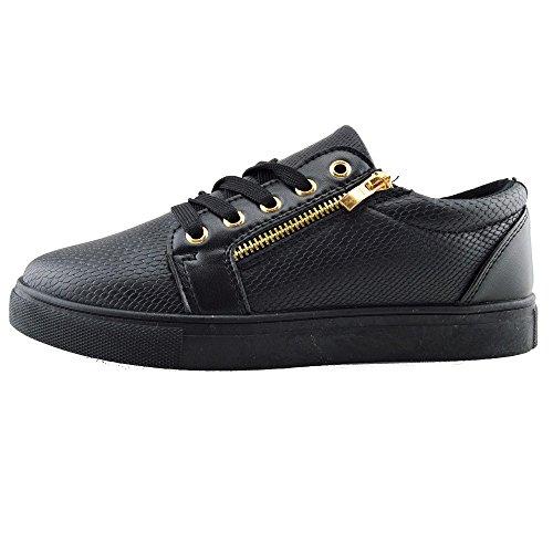 Kick Footwear - Donna Grosso Piattaforma Unica Pizzo Skater Formatori Coccodrillo Look Scarpe Nero