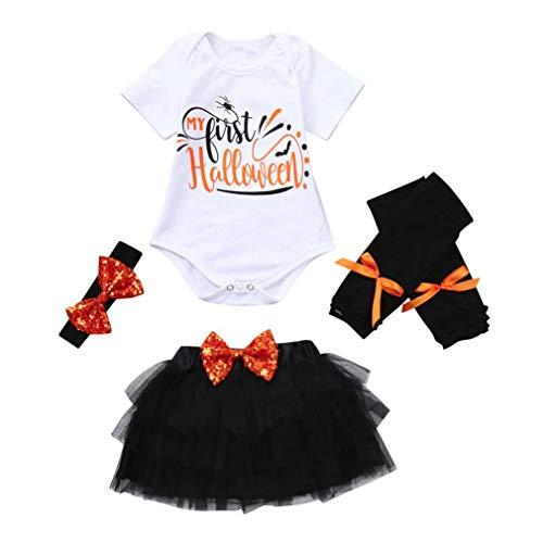 (Halloween Kostüme Sets Baby Mädchen 4PCS Leter Pailletten Tops Strampler Gaze+Rock Haarband+Warm Beinset Toddler Kinderkleidung Set Ballkleid für Party Outfit Kleidung Sets(Orange))