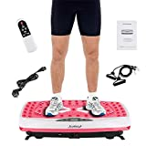 Wefun Fitnessplatte Vibrationstrainer für den Büro-Wohnzimmer-Körper-Former, Nicht Beleg-Antrieb Oberfläche + LCD-Schirm + Fernbedienung Abnimmt (E Rosa)