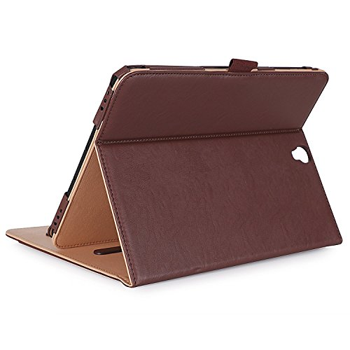 ProCase Klappen Schutzhülle für Galaxy Tab S3 Tablet, Stand Folio Case Cover für Galaxy Tab S3 Tablette (9,7 Zoll, SM-T820 T825), mit Mehreren Betrachtungswinkeln, Dokumentenkarte Tasche -Braun (Samsung Galaxy S3 Film Case)