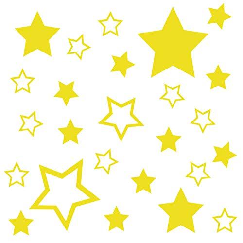kleb-Drauf® | 25 Sterne | Gelb - matt | Wandtattoo Wandaufkleber Wandsticker Aufkleber Sticker | Wohnzimmer Schlafzimmer Kinderzimmer Küche Bad | Deko Wände Glas Fenster Tür Fliese