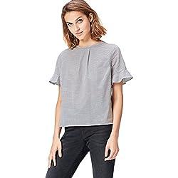 FIND Blusa de Rayas para Mujer, Negro (Black), 44 (Talla del Fabricante: X-Large)