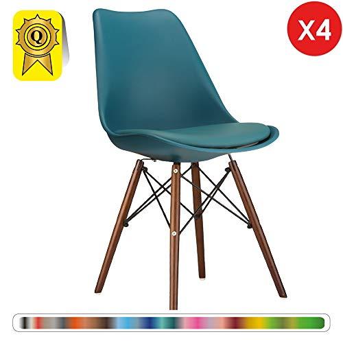 Decopresto 4 x Chair Designer Eiffel Inspired Gambe: impiallacciatura di Legno Seduta Imbottita: Blue Ocean Teal Deco Presto DP-DSWCD-BO-4