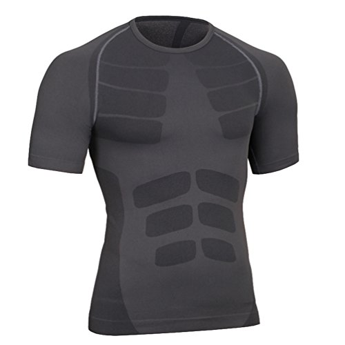 YiJee Herren Schnelltrocknend T-Shirt Core Short Sleeve Kompressionsshirt Pro Cool Compression Tee Grau1 M (Short Sport Tee Sleeve Trocknen)