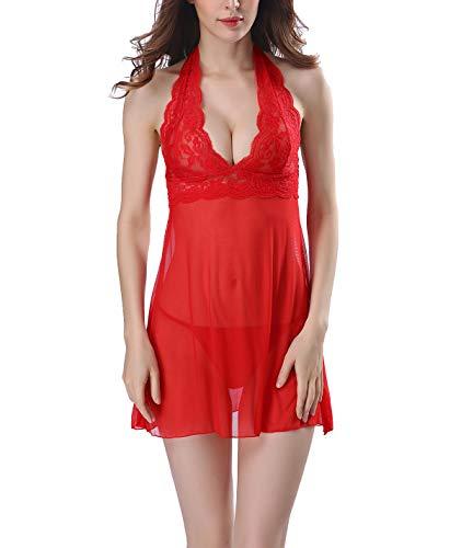 FEOYA Petite Damen Reizwäsche Nachtwäsche Nachtmaentel mit String Nachtkleid Spitze Nachthemd Dessous Negligee Rot XXL - Petite Nachtwäsche