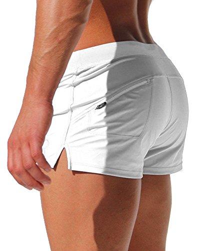 Gfirmament Mens Swim Trunks Hosen Bademode Shorts Slim Wear Mit Reißverschluss Tasche weiß