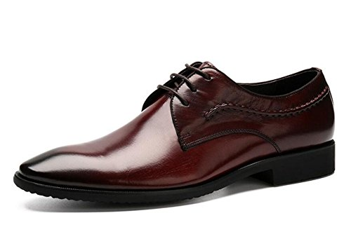 GLSHI Hommes Oxford Pointed-Toe Chaussures en cuir Costumes daffaires Men Leather Genuine Fashion Shoes Red