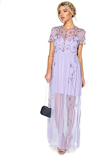 Lilas Hommes Corine Boutique Embellished Maxi Robe Lilas