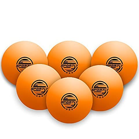 Sportly Table Tennis Ping Pong Balls, 3-Star 40mm Advanced Training Regulation Size Balls, 6 Pk Orange by Sportly