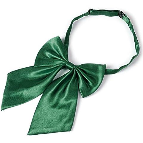Lazo de la moda de las mujeres arco de las muchachas corbatas banquete del partido del color sólido de la corbata ajustable Verde