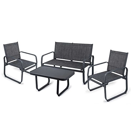 Strattore Gartenset Sitzgruppe Gartenlounge Set Gartenmöbel Loungeset Sitzgarnitur Gartengarnitur Essgruppe mit Glastisch, Sitzbank und 2 Stühlen