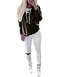 Hipzop Femmes automne Pull à manches longues Tops à lacets Chemisier Sport Casual T-shirt