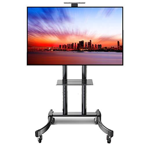 TV Halterung Ständer Standfuß Bodenständer Roll-TV-Ständer mit 2 Regalen, schwenkbarer Universal-TV-Wagen für 32/42/43/49/50/55/65 Zoll Plasma- / LCD- / LED-Fernseher, schwarz, Tragkraft 70 kg -