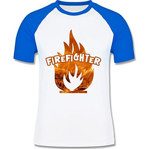 Feuerwehr - Feuer Flammen Firefighter - zweifarbiges Baseballshirt für Männer Weiß/Royalblau