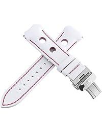 Auténtico Tissot Hombres de piel color blanco reloj banda correa con rojo puntadas titanio hebilla 20mm