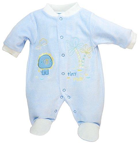 Just Too Cute - Baby Jungen Strampler Schlafanzug aus Nicki Roar Blau Gr. 62/68 (3/6M)