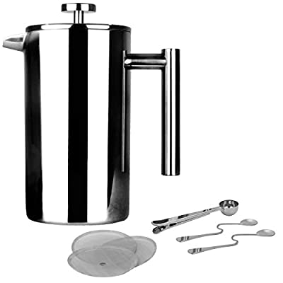 French Press Cafetiere | Stainless Steel Coffee Press Maker | FREE Extra Filters / Measuring spoons / Bag Clip | Double Walled Insulation | 7pc Coffee Gift Set | M&W 1000ml by Xbite