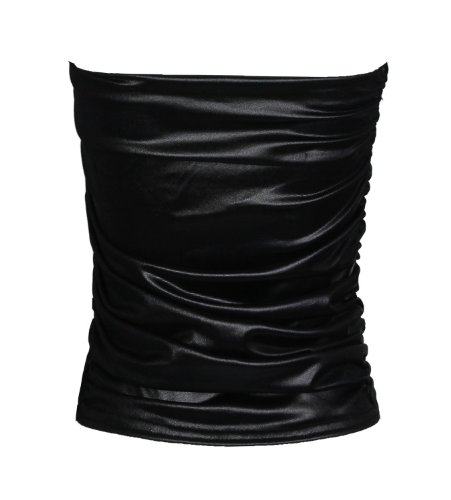 Fast Fashion - Top Plain Wetlook Haut Boobtube Ruché - Femme Noir