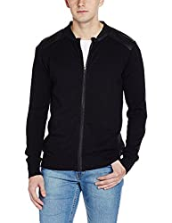 Flying Machine Mens Cotton Sweater (8907378372376_FMSW5064_XXL_Jet Black)