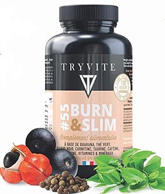 thermogenic Fat Burner:Weight Loss:Green Tea+Guarana+carnitine+Taurine+Caffeine+Black Pepper+zinc+tyrosine+Vitamins b 1, b 3, b 5, b 6, b 8, b 12/120 Vegetarian Capsules/High Dosage/Made in France by TRYVITE