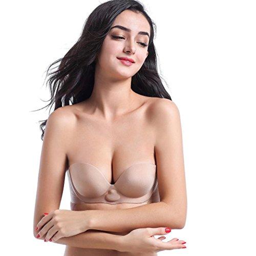 Adhesive Bras HKFV Frauen sofortige Bruststraffung unsichtbare Silikon Push Up BH Aufblasbare BH Brust Aufkleber Pasties (Cup-B, Khaki)
