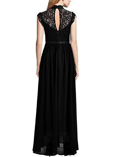 Miusol Damen Elegant Spitzen Abendkleid Brautjungfer Cocktailkleid Chiffon Faltenrock Langes Kleid Schwarz Gr.M - 2