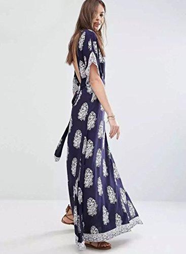 Azbro Women's Deep V Neck Backless Floral Printed Slit Maxi Dress Navy