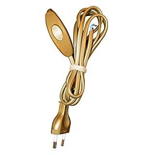 Tibelec 163930 Netzkabel mit Stecker und Schalter, goldfarben