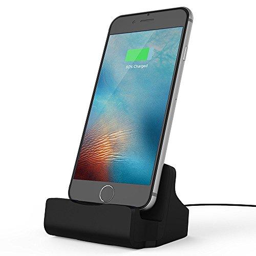 TUOYA - Estación de carga para iPhone, soporte, cargador y sincronización con conector Lightning para iPhone 7, 7 Plus, 6/6 Plus, iPhone 6S/6S Plus iPhone 5/5S/5C, iPad Air, iPad mini. iPod 5, iPod Nano 7 plateado (Negro)