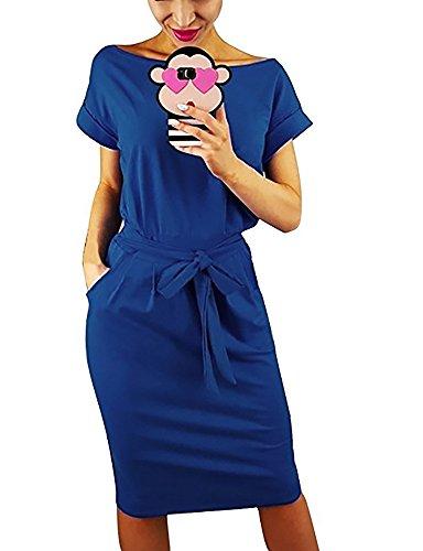 (Vruan Sommerkleider für Frauen Kurzarm Taschen Casual Swing T-Shirt Frauen Tag Kleid Frauen 5 Farbe)