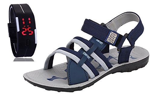 Chevit-Mens-COMBO-601-Casual-Sandals-and-Floaters-With-LED-Smart-Watch-Bracelet-SCRATCH-LESS-Display
