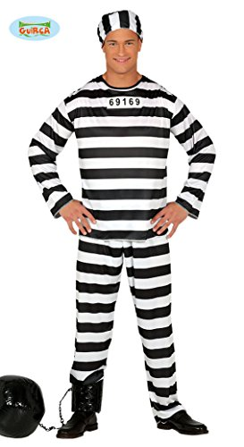 Sträfling Gefangener Karneval Motto Party Kostüm für Herren schwarz weiß Gr. M-L, (Schwarz Und Weiß Kostüm Party)