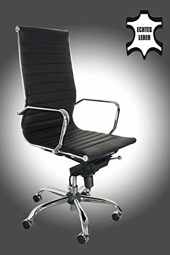 Bürostuhl Schreibtischstuhl Drehstuhl Chefsessel schwarz Echtleder Alpha Elegance
