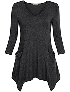 CHENGYANG Donna Manica Lunga Irregolare V-collo T-Shirts con Tasca Camicetta Colore Solido