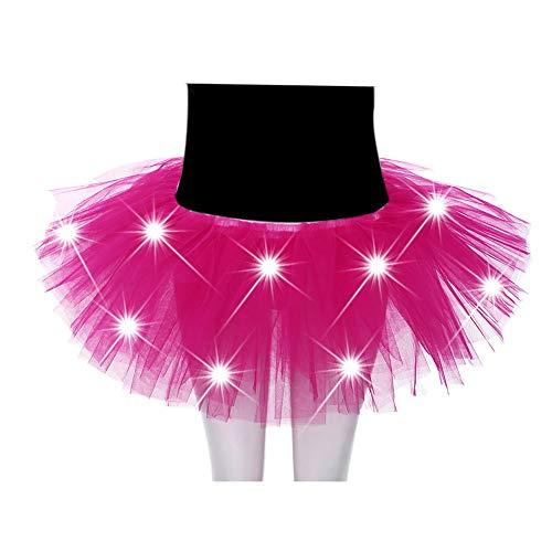 FABSELLER Ballettrock mit LED-Beleuchtung für Erwachsene, 5-lagig, mit -