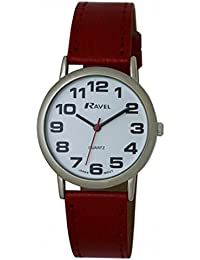 GENTS RAVEL EASY READ WHITE WATCH WITH EXTRA LONG (21cm) RED STRAP AND CHROME CASE (R0105.10.1)