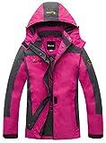 Wantdo Damen Winddicht Wanderjacke Sport Regenjacke mit Kapuze Rosa Large