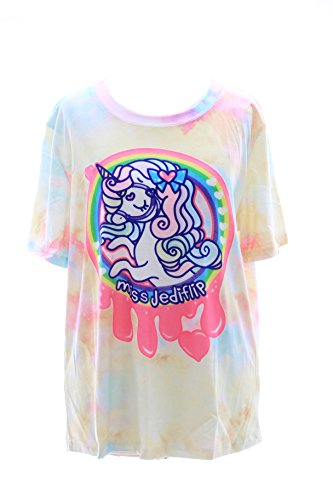 T-503 Gelb Yellow Lolita T-Shirt Einhorn Unicorn Harajuku Japan Trend Fashion Süß Kawaii-Story (T-shirts Toy Story Frauen)
